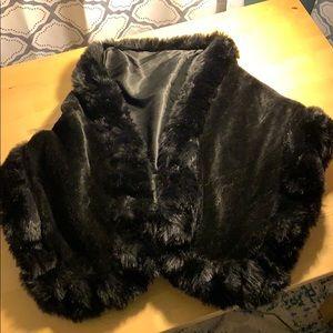 Black faux fur wrap cape